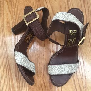 Salvatore Ferragamo eyelet brown and white heels